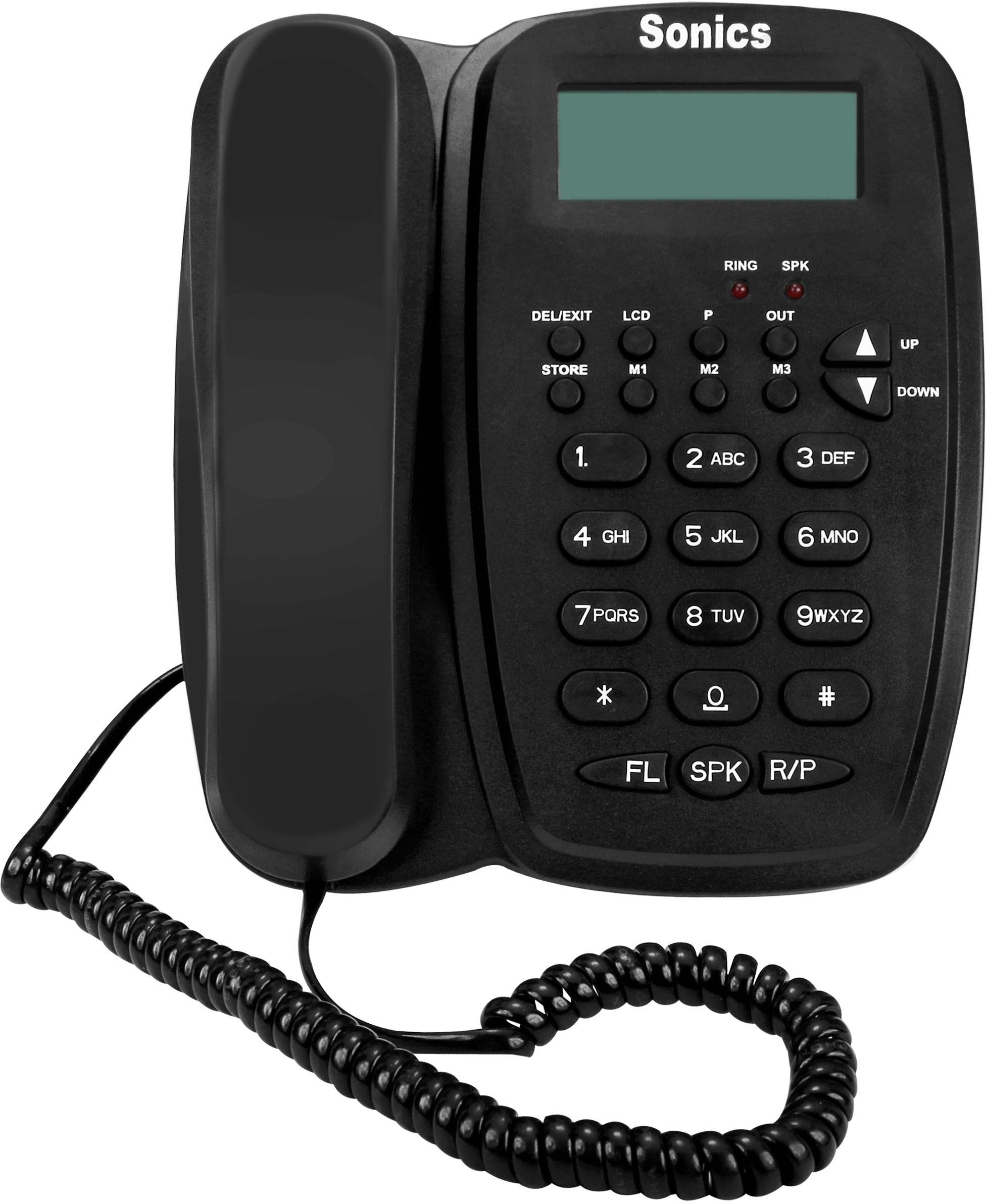 View Sonics SS-916 Corded Landline Phone(Black) Home Appliances Price Online(Sonics)