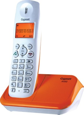 Gigaset A450 White & orange Cordless Landline Phone(White & orange)