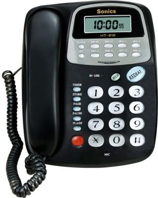 Sonics HT-818 Corded Landline Phone(Black)