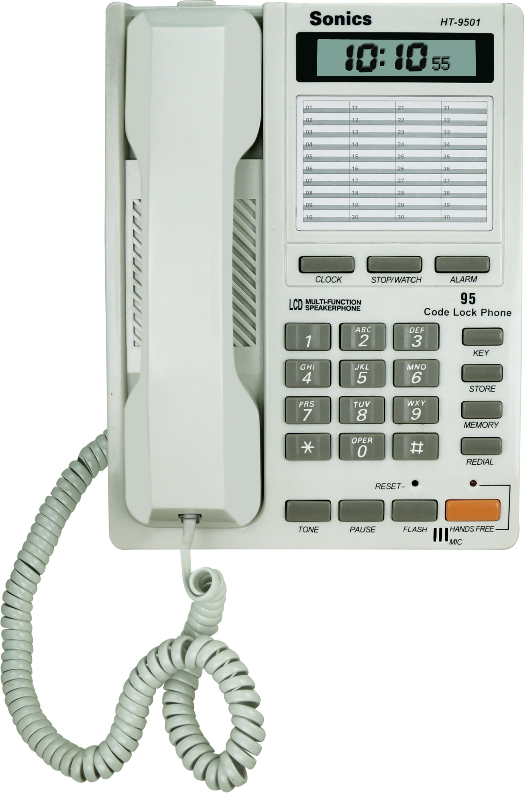 View Sonics HT-9501 Corded Landline Phone(White) Home Appliances Price Online(Sonics)