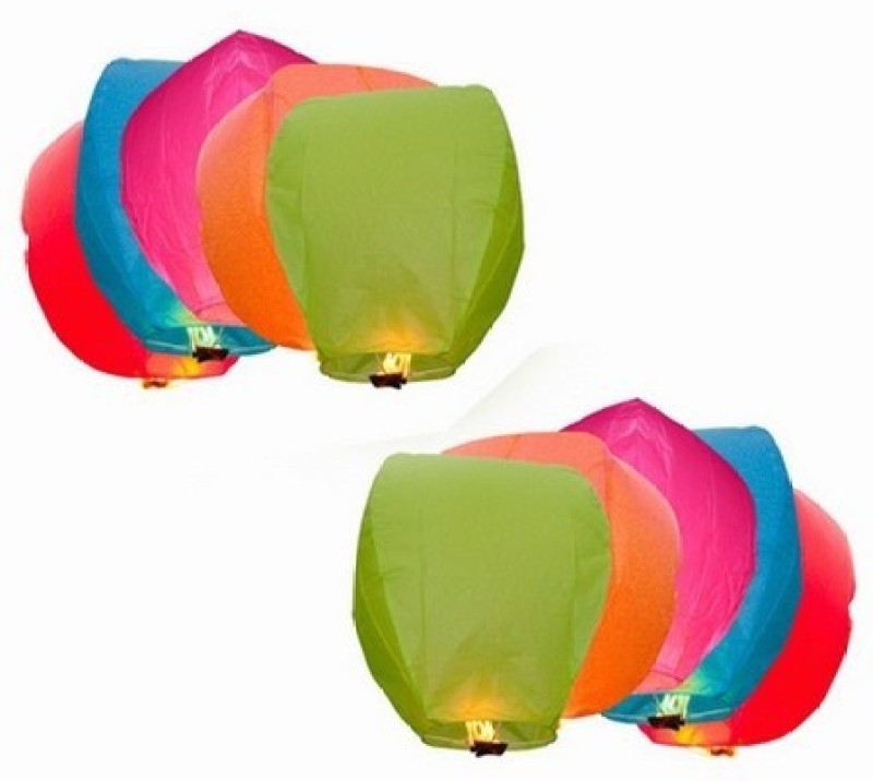 Lamps Of India Multicolor Paper Sky Lantern(85 cm X 45 cm, Pack of 10)