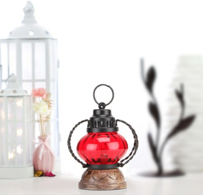 Sajja Craft Red Glass Lantern