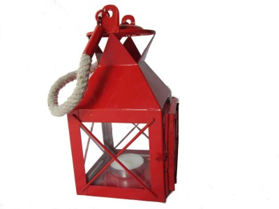 A Bonsai Red Cast Iron Lantern
