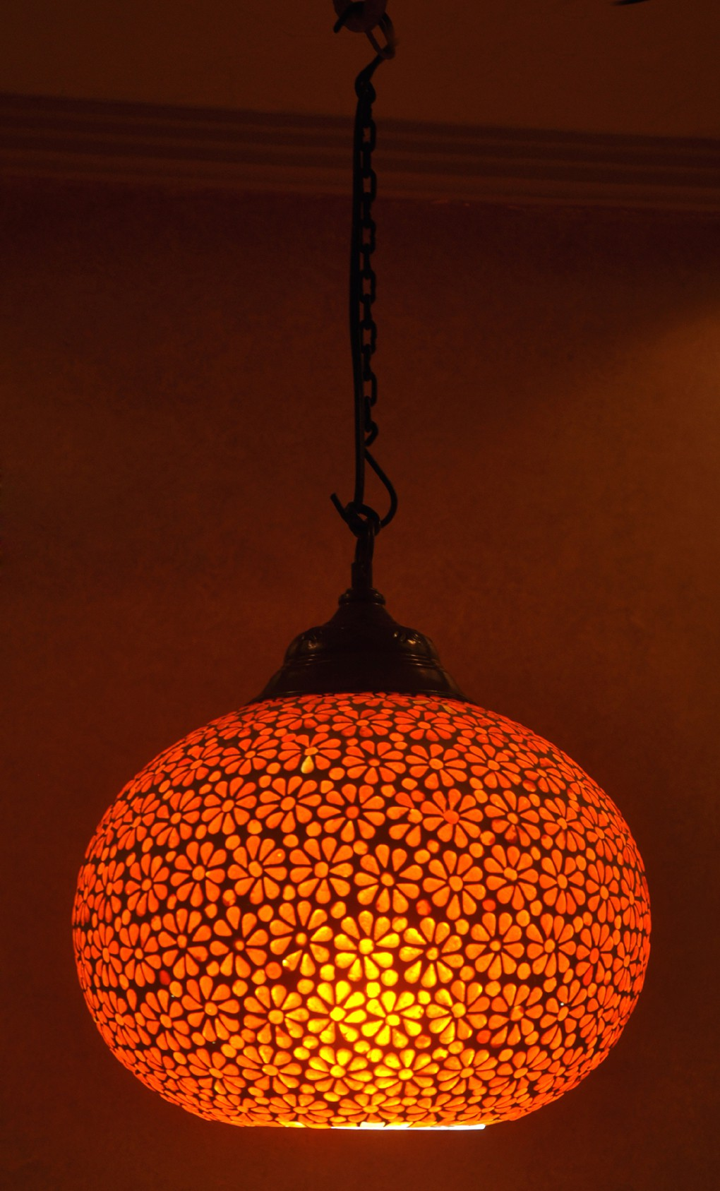 Lal Haveli Antique Hanging Light Indoor Night Lamp Ceiling Pendant Orange Glass Lantern