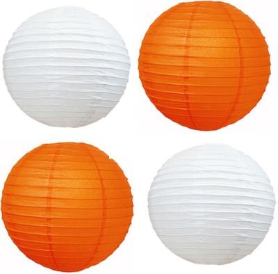 Santa Stores Chinese Orange, White Paper Lantern