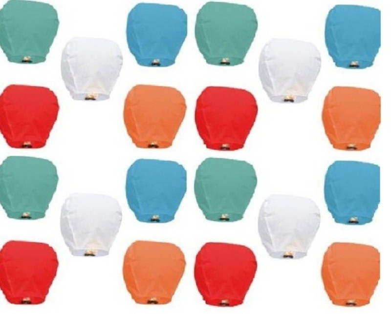 Celebrationideas Multicolor Paper Sky Lantern(90 cm X 45 cm, Pack of 20)