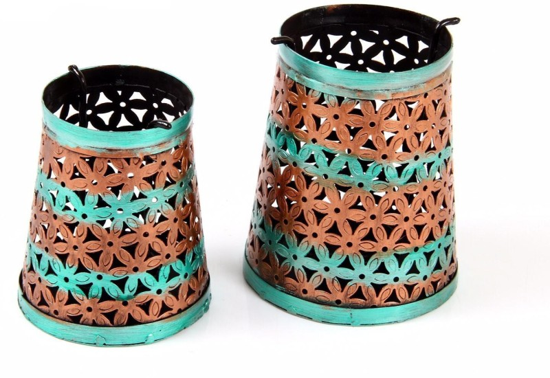 Traje Bucket Tealight Gold, Green Iron Lantern(15 cm X 13 cm, Pack of 2)