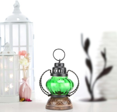 Sajja Craft Green Glass Lantern