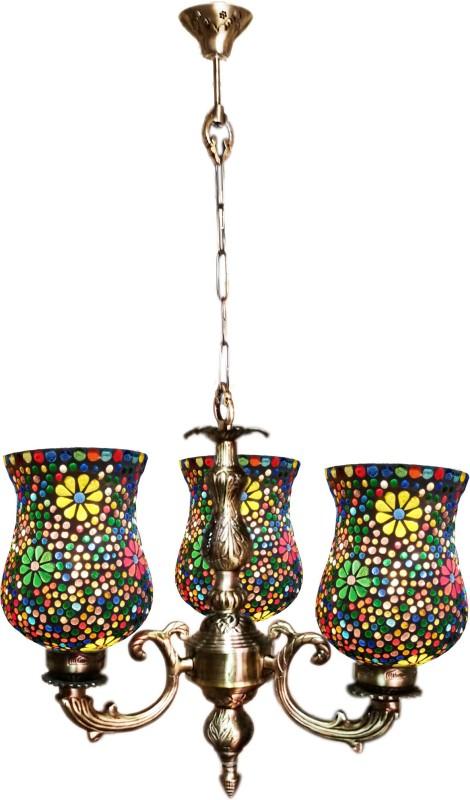 Weldecor Antiqua Brasso Polka Dots Hanging 3 Glass Lamp White, Multicolor Brass, Aluminium Lantern(82 cm X 40 cm, Pack of 1)