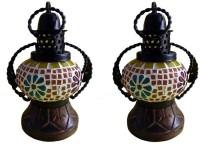 Excellent4U Decorative Hanging Multicolor Iron, Wooden Lantern(18 cm X 10 cm, Pack of 2)