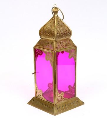 Deziworkz Gold, Pink Iron, Glass Lantern