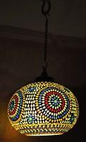 Lal Haveli Home Décor Ceiling Light Fixture Mosaic Hanging Lamp Multicolor Glass Lantern(20.32 cm X 30.48 cm, Pack of 1)