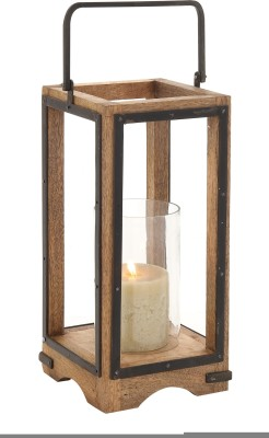 Kala Bhawan Brown Wooden, Glass Lantern
