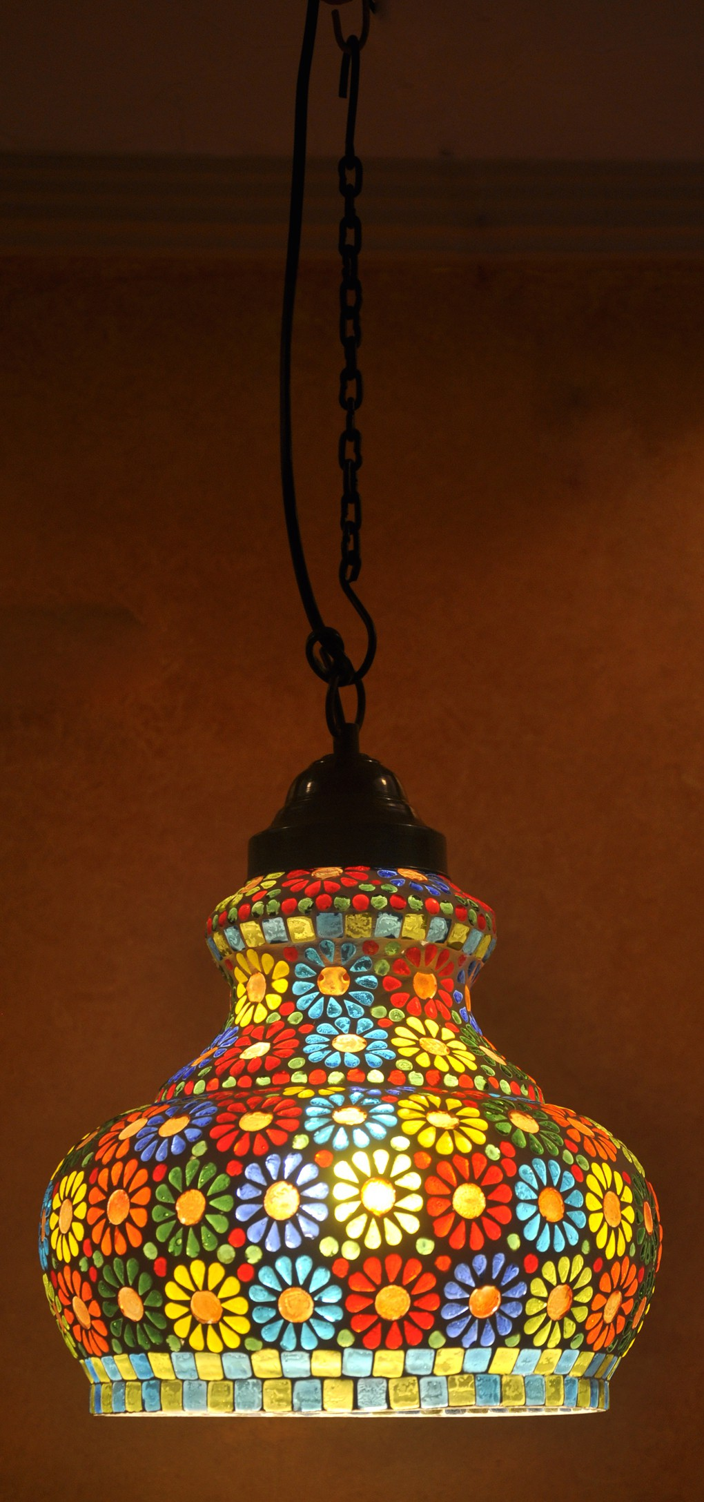 Lal Haveli Vintage Antique Mosaic Hanging Lamps Ceiling Pendant Lamps Night Light Multicolor Glass Lantern