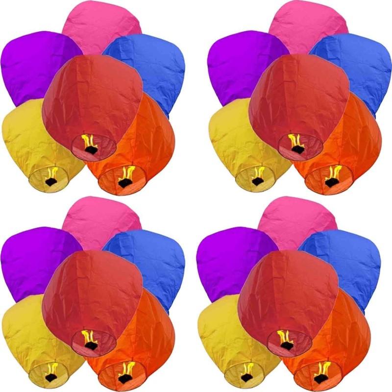 NIKsales Multicolor Paper Sky Lantern(70 cm X 40 cm, Pack of 20)