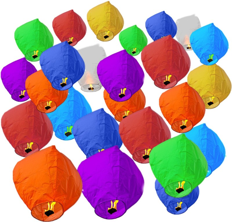 Pick Indiana Multicolor Paper Sky Lantern(85 cm X 30 cm, Pack of 25)