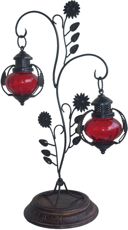 The Woods Hut Red Iron Lantern(55.88 cm X 20.32 cm, Pack of 1)