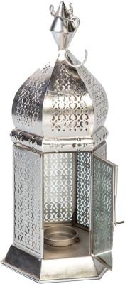 Peacock Life Silver Glass, Steel Lantern