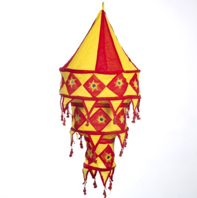 Smile2u Retailers Rajasthani Embroidered Fabric Red, Yellow Cotton Lantern