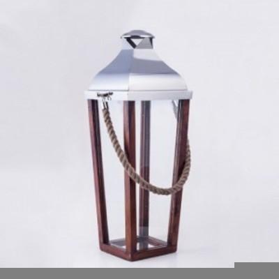 Elvy Brown Wooden Lantern