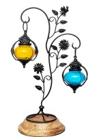 Indian Handicrafts Company Multicolor Glass Lantern(35 cm X 10 cm, Pack of 1)
