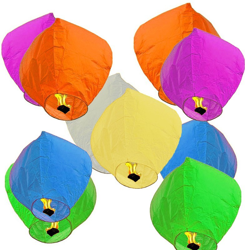 Pick Indiana Multicolor Paper Sky Lantern(85 cm X 30 cm, Pack of 10)