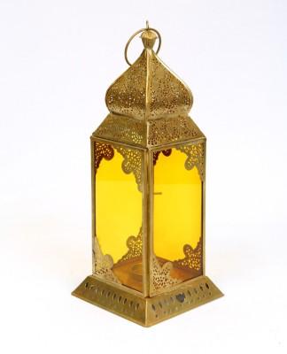 Deziworkz Gold, Yellow Iron, Glass Lantern