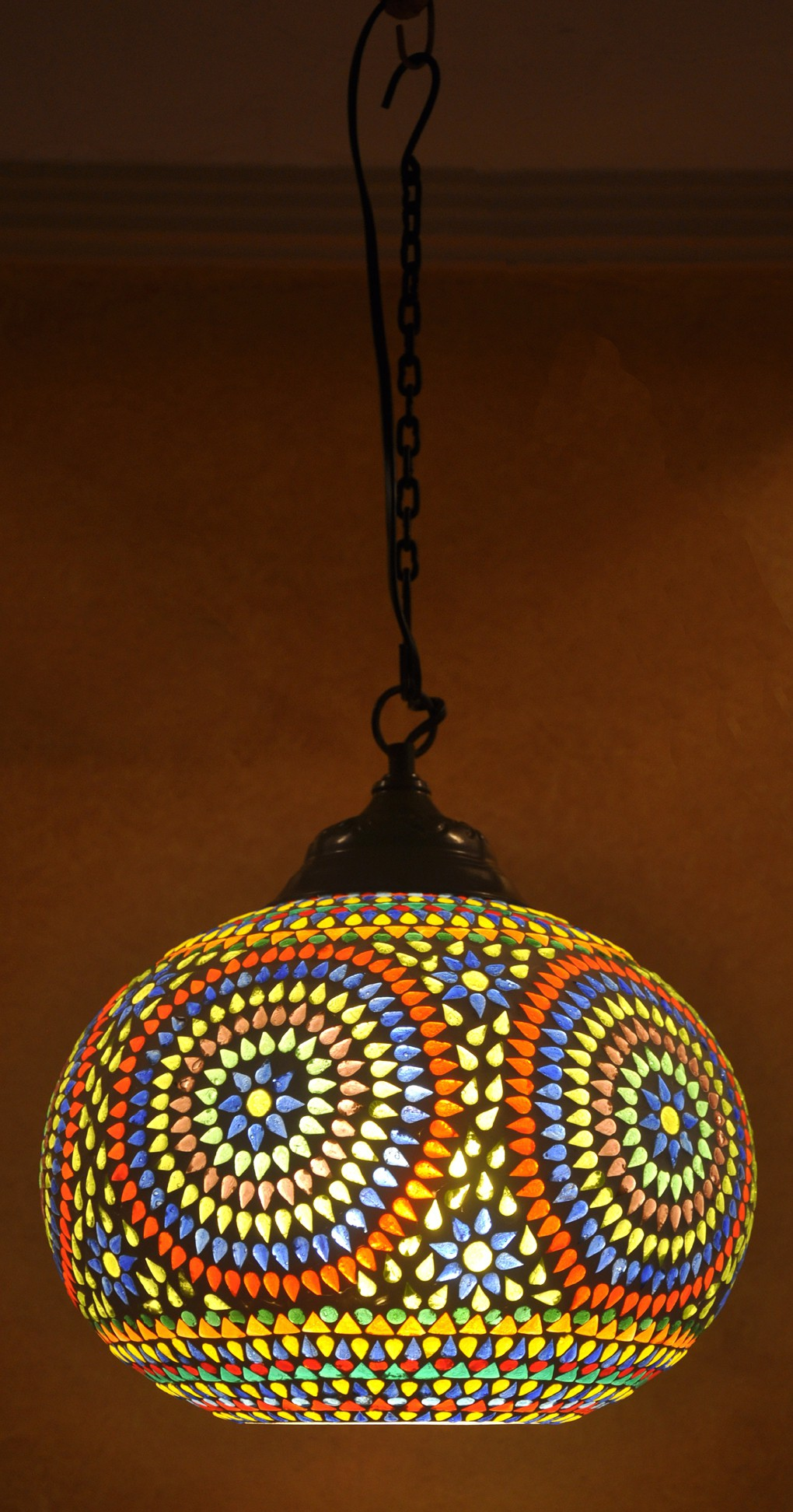 Lal Haveli Modern Ceiling Light Decorative Hanging Lamp Blue Glass Lantern