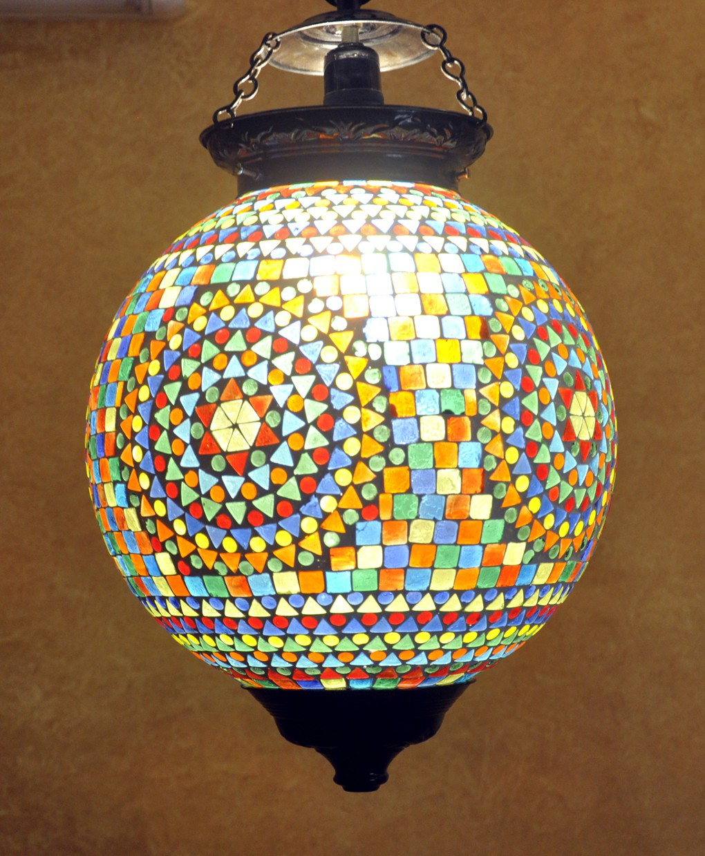 Lal Haveli Vintage Antique Mosaic Hanging Lamps Ceiling Pendant Lamps Night Light Blue Glass Lantern