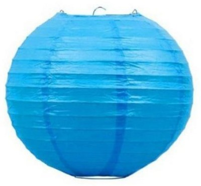 Skycandle 8″ Blue Even Ribbing Round Blue Paper Lantern