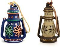ExclusiveLane Blue, Brown Terracotta Lantern(22.86 cm X 10.92 cm, Pack of 2)
