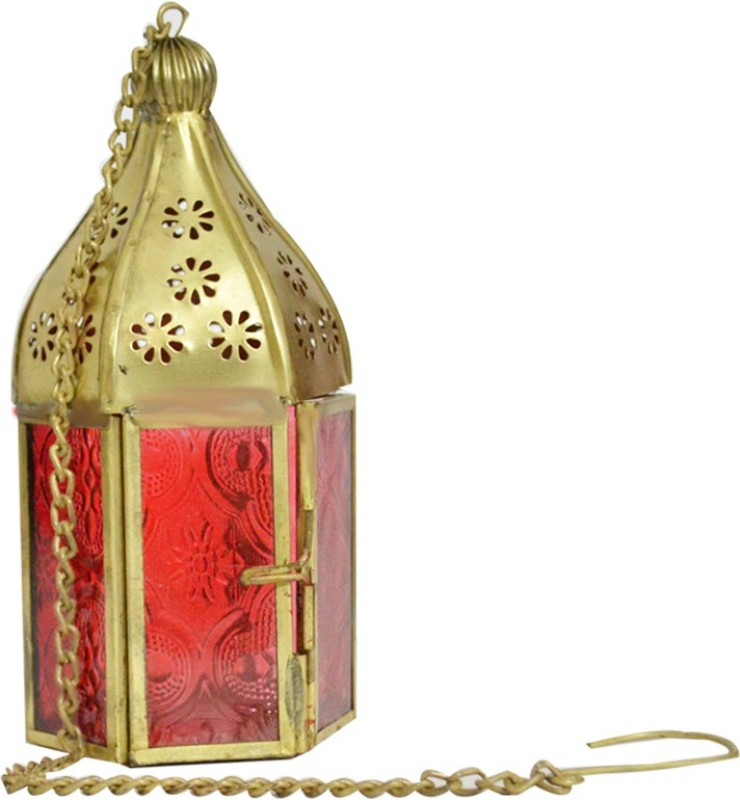 Kriti Creations Decorative Hanging Lalten Red Aluminium Lantern(15 cm X 6 cm, Pack of 1)