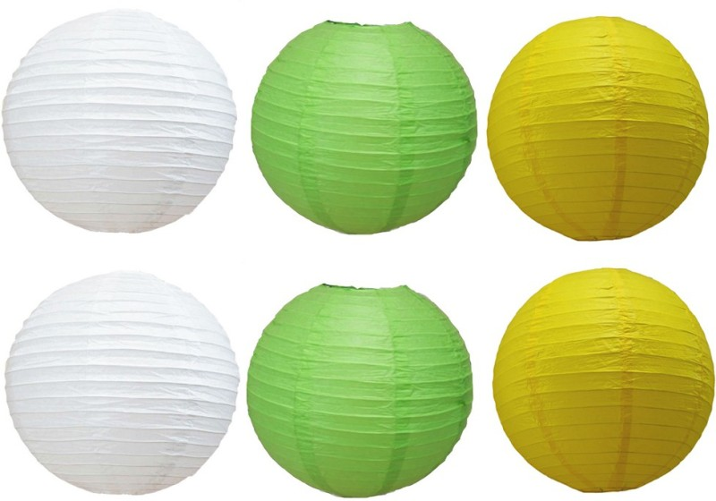 Santa Stores Chinese White, Yellow, Green Paper Lantern(25.4 cm X 25.4 cm, Pack of 6)