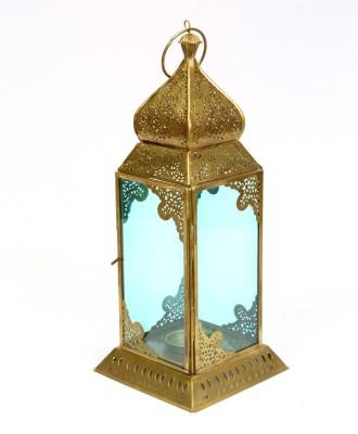 Deziworkz Blue Iron, Glass Lantern
