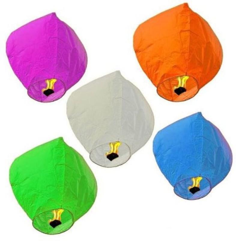 Celebrationideas Multicolor Paper Sky Lantern(90 cm X 45 cm, Pack of 5)