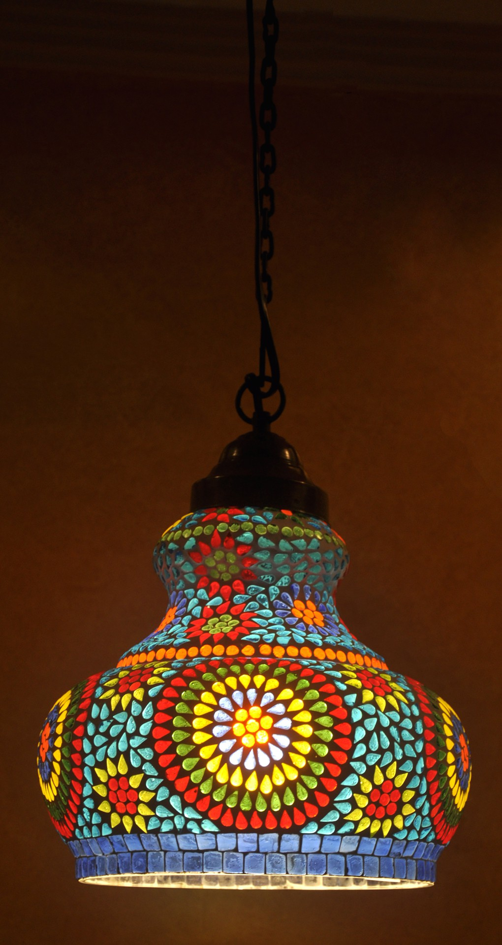 Lal Haveli Decorative Moroccan Ceiling Light Hanging Lamp Blue Glass Lantern