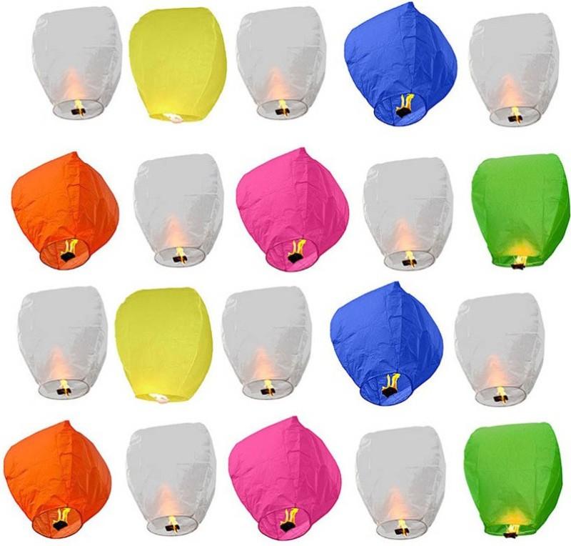 SHOPOJ Multicolor Paper Sky Lantern(80 cm X 12 cm, Pack of 20)