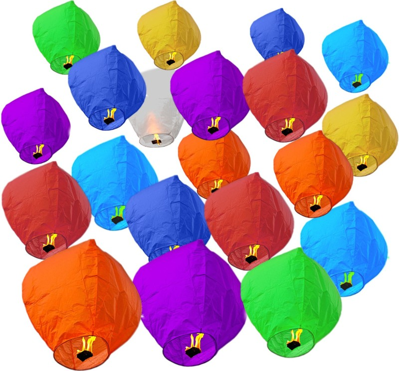 Pick Indiana Multicolor Paper Sky Lantern(85 cm X 30 cm, Pack of 20)