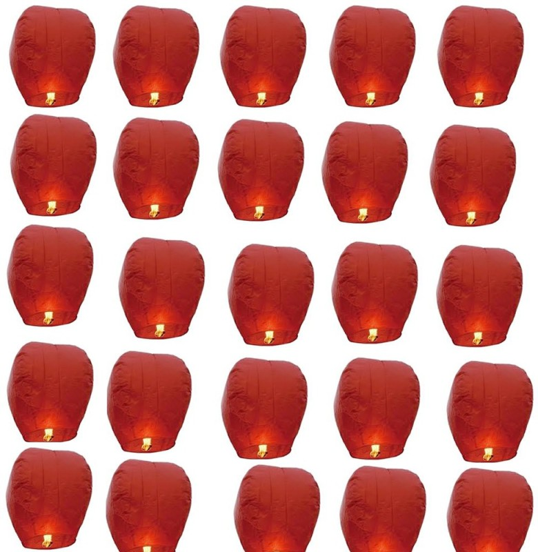 Santa Stores Chinese Red Paper Sky Lantern(85 cm X 40 cm, Pack of 25)