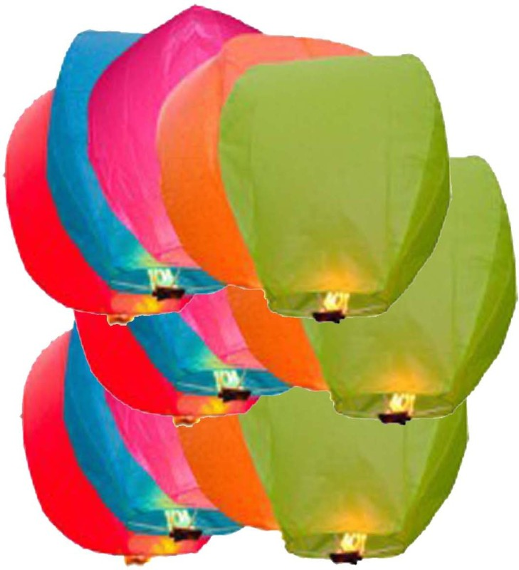 AOC Multicolor Paper Sky Lantern(90 cm X 50 cm, Pack of 15)