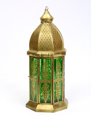Deziworkz Gold, Green Iron, Glass Lantern