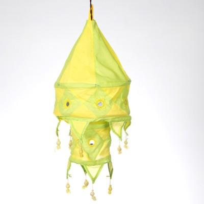 Smile2u Retailers Rajasthani Embroidered Fabric Green, Yellow Cotton Lantern