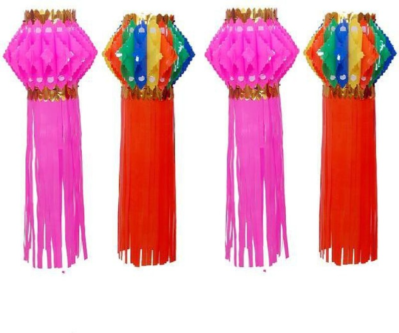 Cretiv Multicolor, Pink Plastic Lantern(50 cm X 25 cm, Pack of 4)