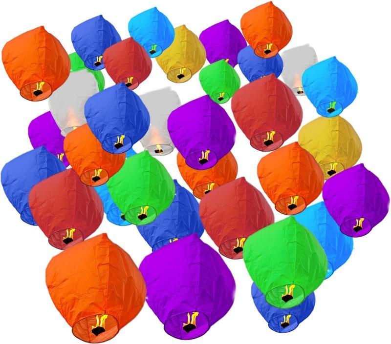 Pick Indiana Multicolor Paper Sky Lantern(85 cm X 30 cm, Pack of 30)