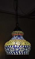 Lal Haveli vintage Antique Mosaic Hanging Lamps Ceiling Pendant Lamps Night Light Multicolor Glass Lantern(25.4 cm X 25.4 cm, Pack of 1)