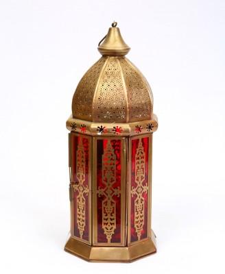 Deziworkz Gold, Red Iron, Glass Lantern