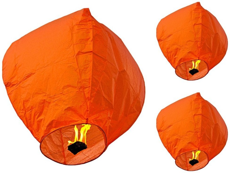 Singh Xpress Exciting Flying Paper Hot Air Balloon With Burning Kit (Combo Of 40) Orange Paper Sky Lantern(81 cm X 30 cm, Pack of 40)