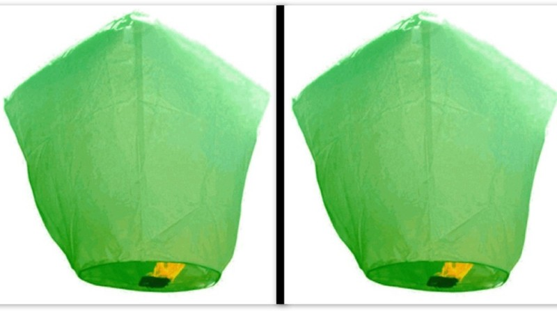 Singh Xpress Exciting Flying Paper Hot Air Balloon With Burning Kit (Combo Of 2) Green Paper Sky Lantern(81 cm X 30 cm, Pack of 2)