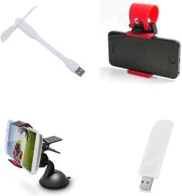 Bigkik Portable Usb Light, Usb Fan, Mobile Holder, Steering Mobile Holder Combo Set