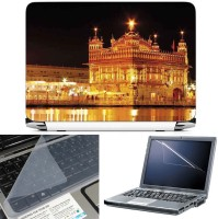 FineArts Golden Temple 3 in 1 Laptop Skin Pack With Screen Guard & Key Protector Combo Set(Multicolor)